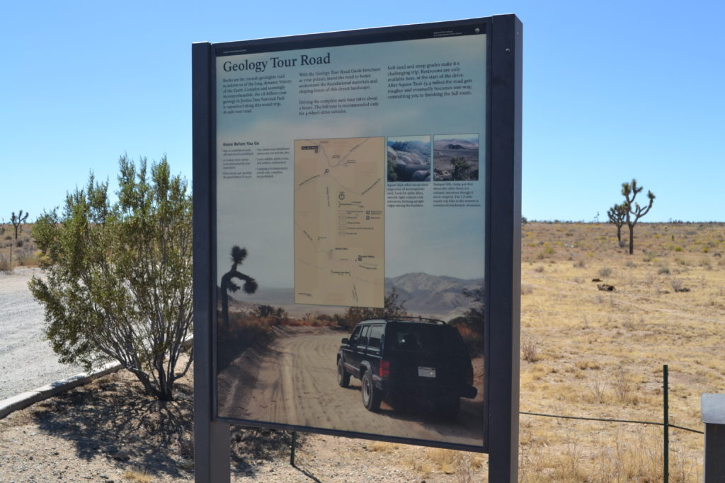 joshua-tree-national-park-climbing-hiking-camping-adventure-tour-geology-tour-road-plaque-sign